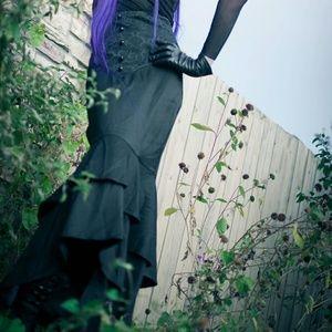Long Black Fishtail Brocade Corset Laced Skirt